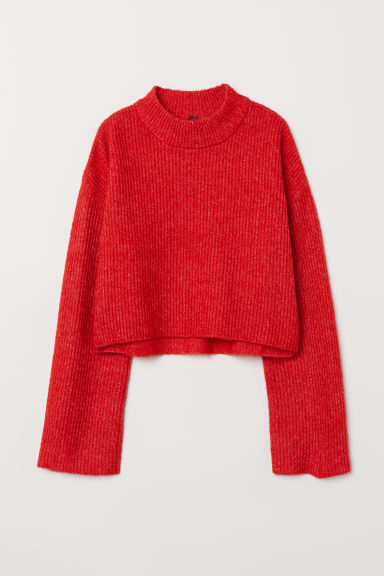 Knitted turtleneck jumper - Red marl - Ladies | H&M