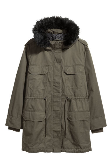 H&M+ Cotton parka - Dark khaki green - Ladies | H&M CN