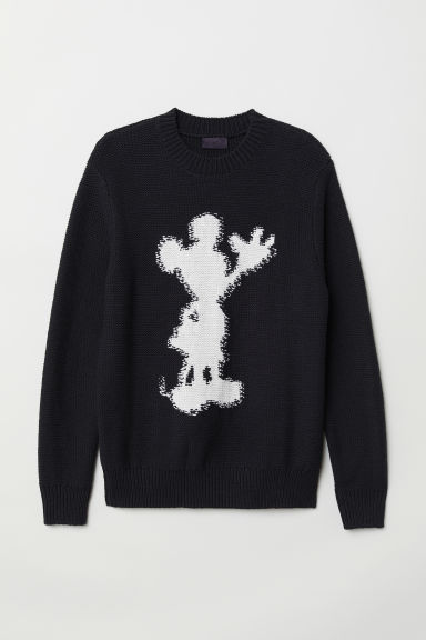 Intarsia motif jumper - Black/Mickey Mouse - Men | H&M