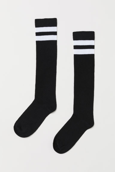 Knee socks - Black/White -  | H&M
