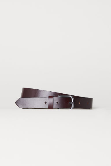 Leren riem - Bordeauxrood - HEREN | H&M BE