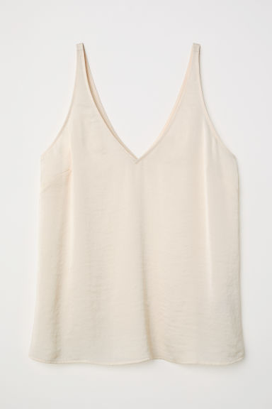 V-neck satin strappy top - Natural white - Ladies | H&M CN