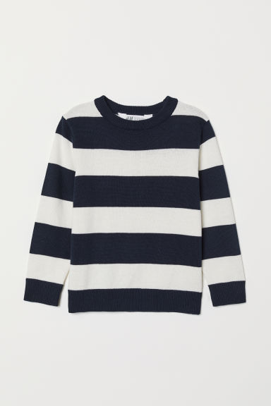 Fine-knit jumper - Dark blue/White striped - Kids | H&M
