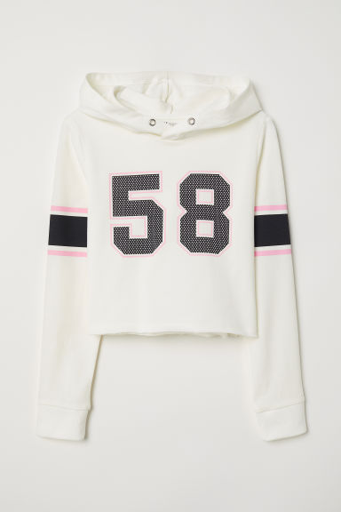 Short hooded top - Natural white/58 - Kids | H&M