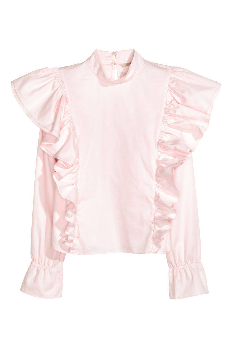 Flounced cotton blouse - Light pink - Ladies | H&M