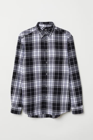 Checked shirt Regular Fit - Black/White checked - Men | H&M