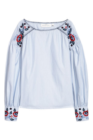 Blouse with embroidery - Light blue - Ladies | H&M