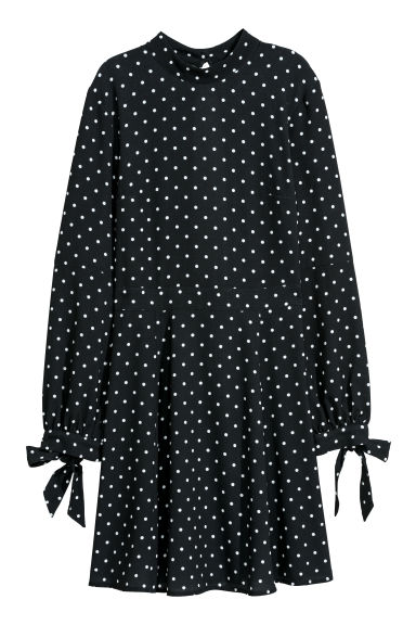 Dress with a stand-up collar - Black/Spotted -  | H&M CN