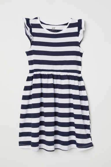 Jersey dress - White/Dark blue striped - Kids | H&M