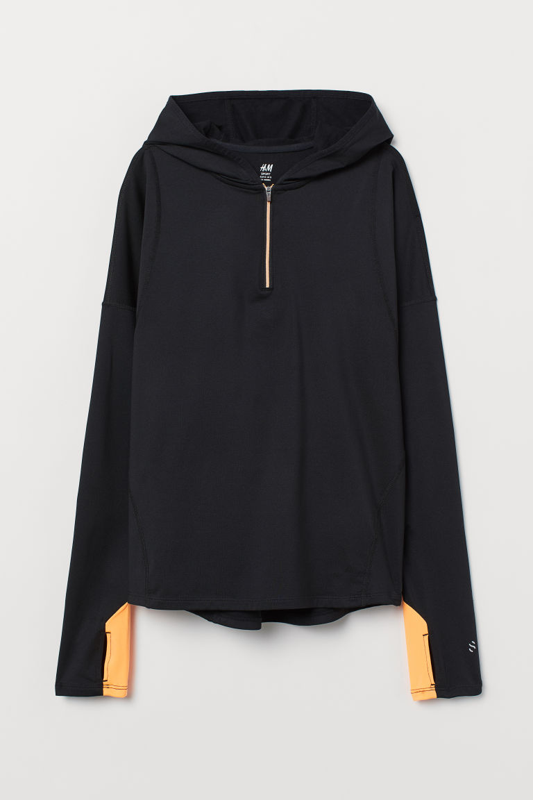 Hooded running top - Black - Ladies | H&M CN