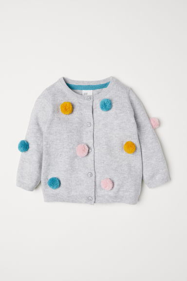 Cardigan with pompoms - Light grey marl - Kids | H&M