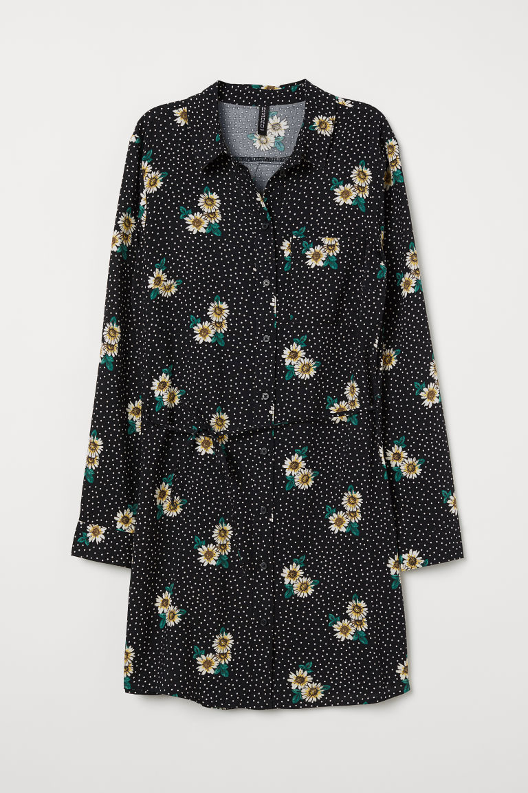 Shirt dress - Black/Spotted -  | H&M IE