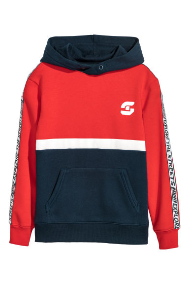 Printed hooded top - Bright red/Block coloured - Kids | H&M