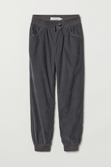 Lined corduroy trousers - Dark grey -  | H&M CN
