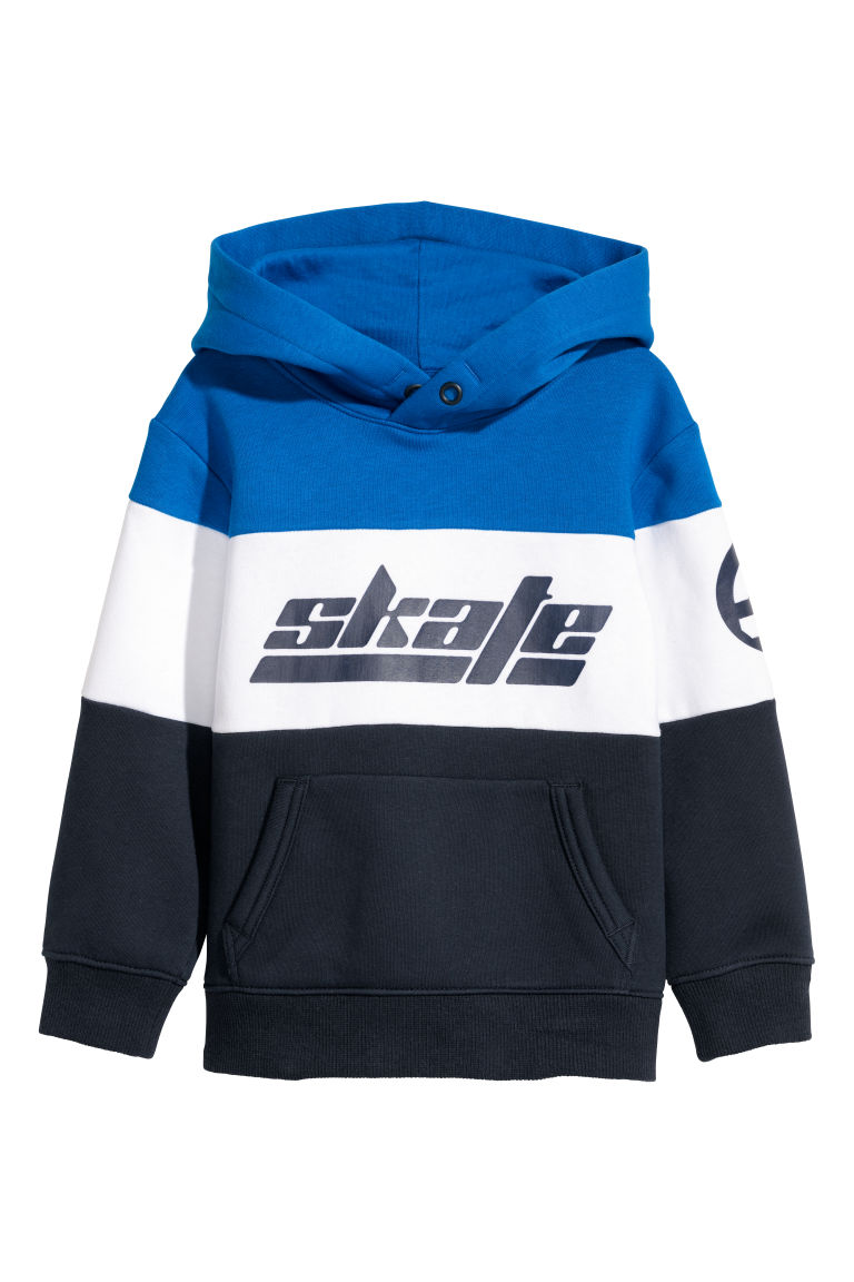 Printed hooded top - Bright blue/Block coloured - Kids | H&M