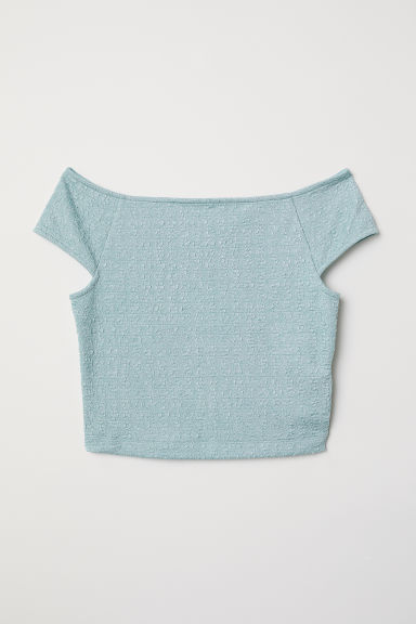 Jacquard-knit jersey top - Mint green - Ladies | H&M CN