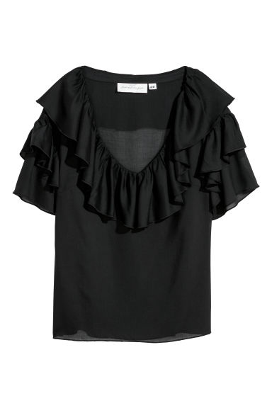 Flounced top - Black - Ladies | H&M CN