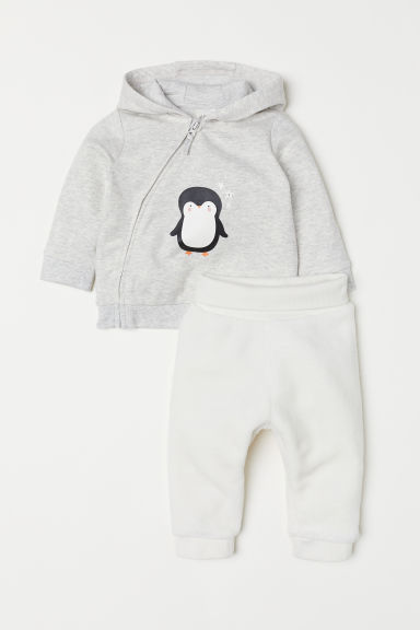Hooded jacket and trousers - Grey marl/Penguin -  | H&M