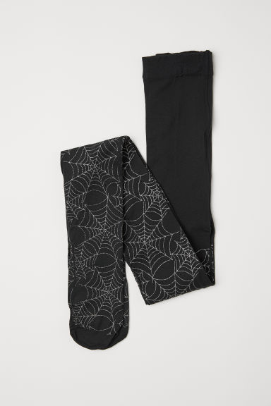 Thin tights - Black/Cobweb -  | H&M CN