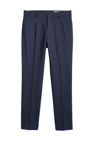 Pantaloni in lana Slim fit - Blu scuro - UOMO | H&M CH