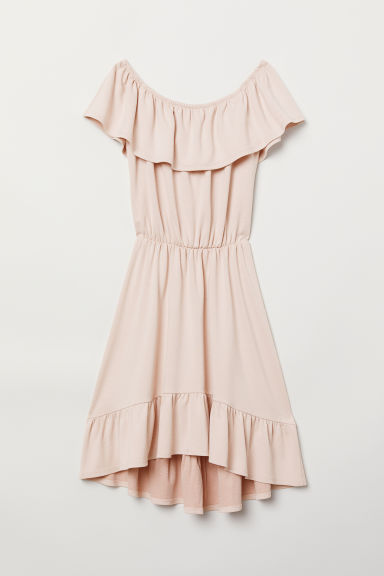Off-the-shoulder jersey dress - Powder pink - Ladies | H&M