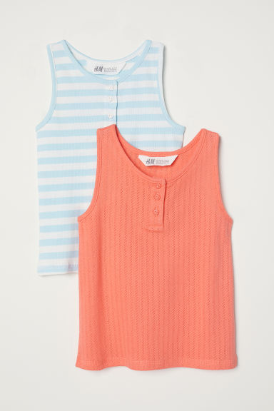 2-pack vest tops - Orange/Striped - Kids | H&M