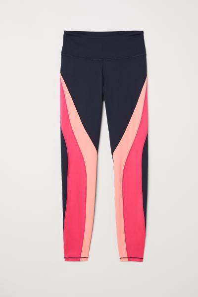 e52f79fd1ee8ed Sports tights - Dark blue/pink - Ladies | H&M ...