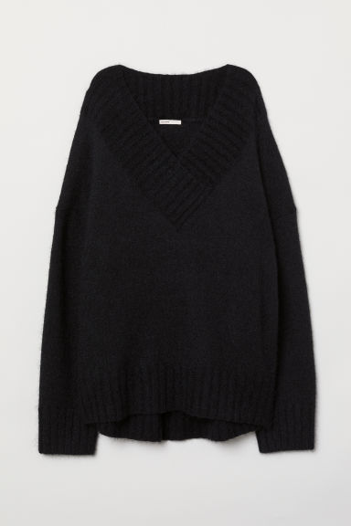 Knitted mohair-blend jumper - Black - Ladies | H&M CN