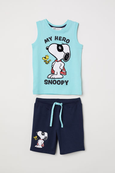 Vest top and shorts - Turquoise/Snoopy -  | H&M