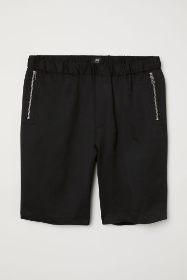 Linen-blend shorts - Black - Men | H&M