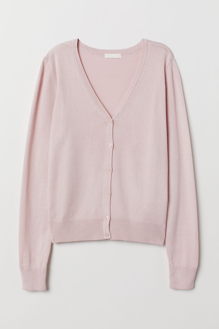 Fine-knit cardigan - Light pink -  | H&M CN