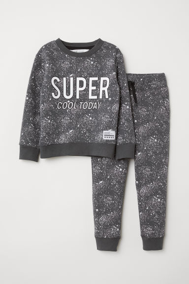 Sweatshirt and joggers - Dark grey/Patterned - Kids | H&M