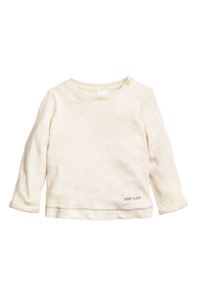 Long-sleeved top - Natural white -  | H&M CN