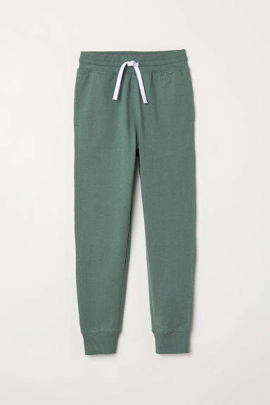 Cotton jersey joggers - Dark green - Kids | H&M IE