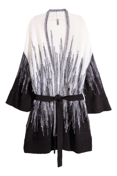 Knitted tie-belt cardigan - White/Black patterned -  | H&M IE