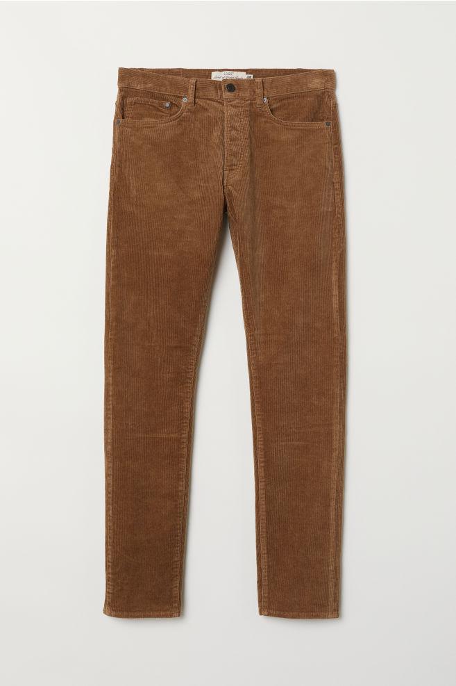 78b2eb3529 Pantalón de pana Slim Straight - Marrón - HOMBRE