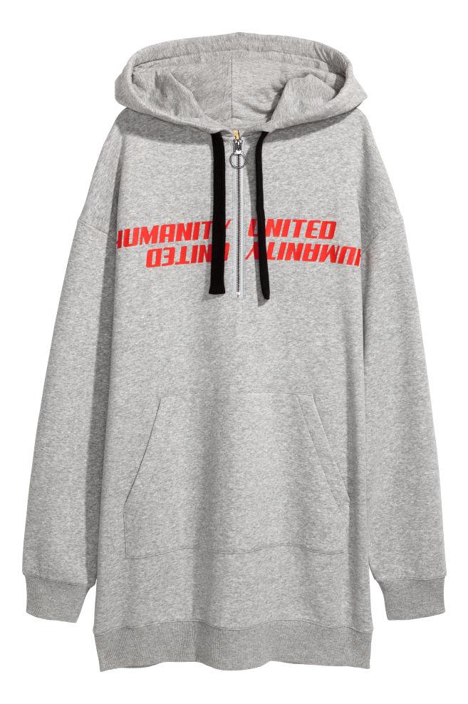 eaafad96f0c Oversized Hooded Sweatshirt - Light gray melange - Ladies