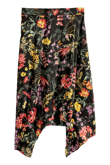 Patterned skirt - Black/Floral - Ladies | H&M CN