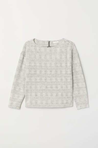 Boat-necked jersey top - Light grey/Checked - Ladies | H&M CN