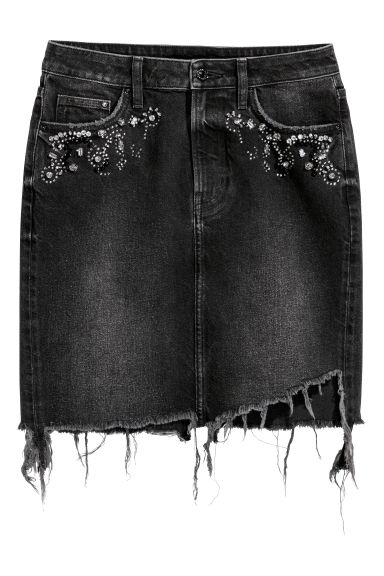 Denim skirt with sparkles - Black/Washed out - Ladies | H&M IE
