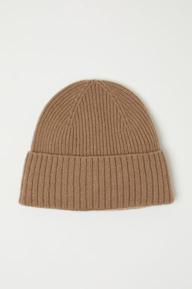 Ribbed cashmere hat - Camel - Men | H&M