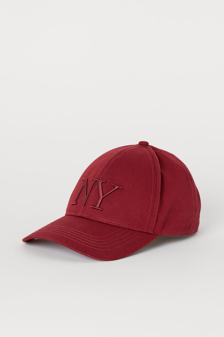 Cotton Twill Cap - Dark red/NY -  | H&M US