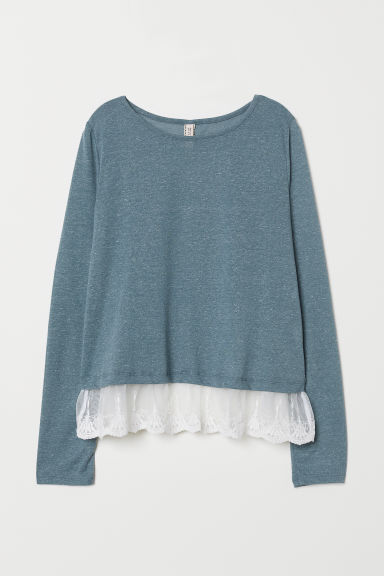 Lace-hem top - Blue-grey -  | H&M CN