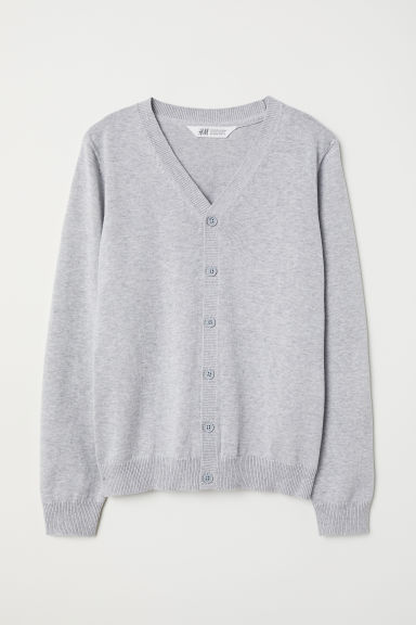 Fine-knit cotton cardigan - Light grey marl - Kids | H&M