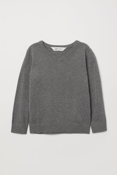Fine-knit jumper - Grey marl - Kids | H&M CN