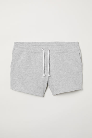 H&M+ Short sweatshirt shorts - Light grey marl - Ladies | H&M CN
