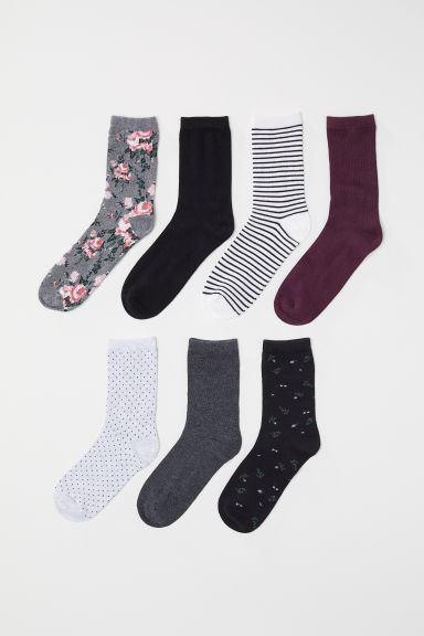 Pack de 7 calcetines - Gris oscuro/Floral - MUJER | H&M ES