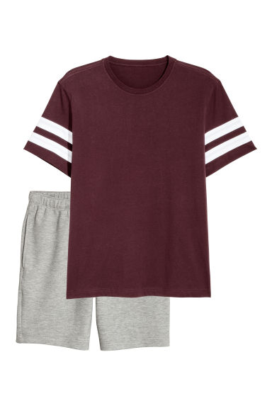 Shortama - Bordeauxrood/grijs gemêleerd - HEREN | H&M BE