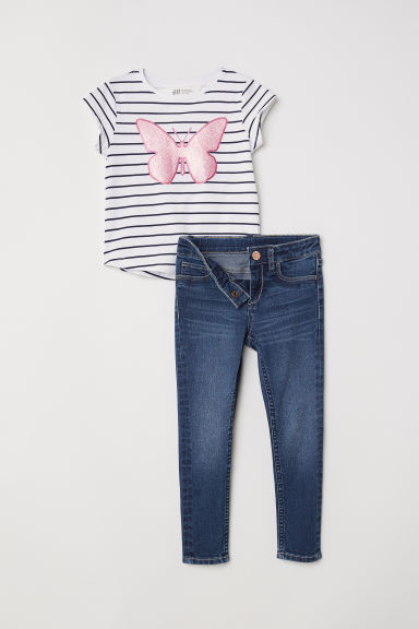 Top and Skinny Fit Jeans - Blue striped/Butterfly - Kids | H&M CN