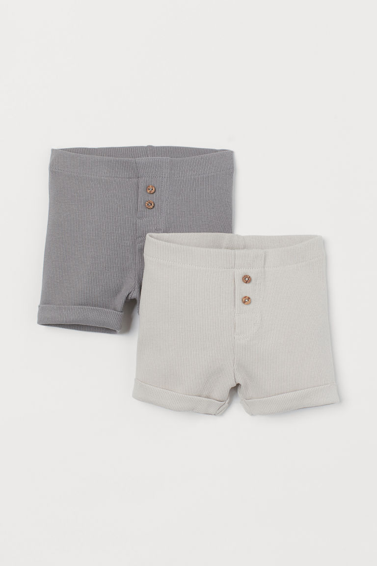 2-pack Cotton Shorts - Gray/light beige - Kids | H&M US